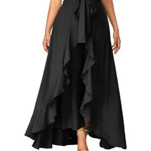 New Black Rayon Ruffled Palazzos